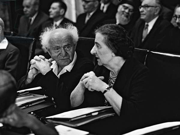 David Ben Gurion Israeli Prime Minister and Foreign Minister Golda Meir in the Knesset (Parliament), Israel