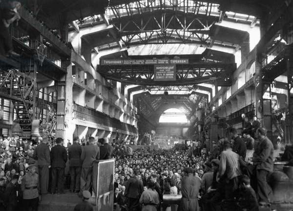 A Post-War Meeting of Workers at the Kirov Factory Discussing Plans for Production Necessary to Complete the Five-Year-Plan in Four, this Factory has Been Decorated Three Times, Leningrad, USSR, 1946.
