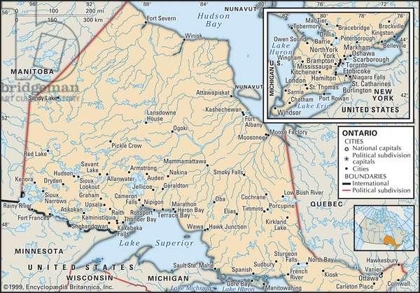 Political map of Ontario