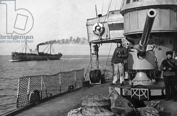 Black Sea Fleet, Soviet Naval Vessels Escorting a Freight Transport, May 1942.