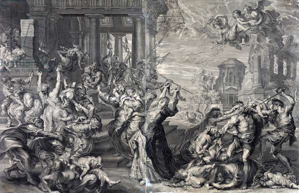 Print showing the massacre of the innocents ordered by Herod, from a 17th century perspective.