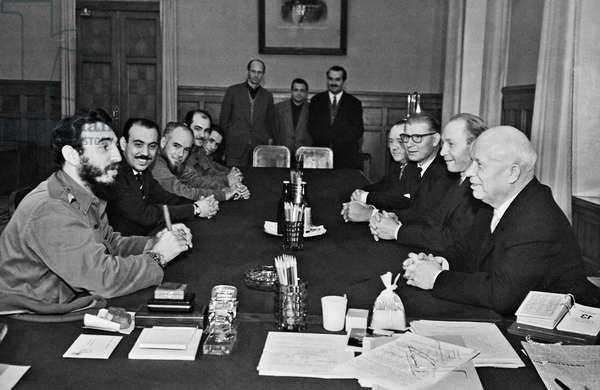 Nikita Khrushchev And Fidel Castro During Negotiations In Moscow