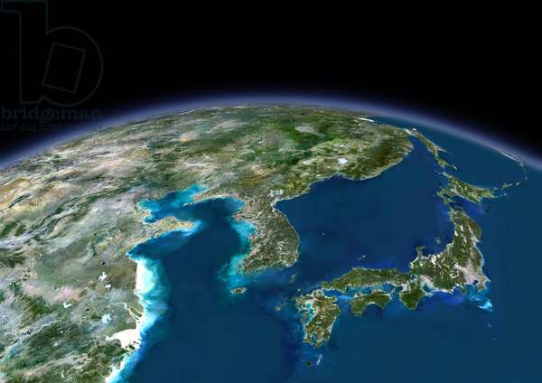 3D satellite view of Japan and Korea (photo)