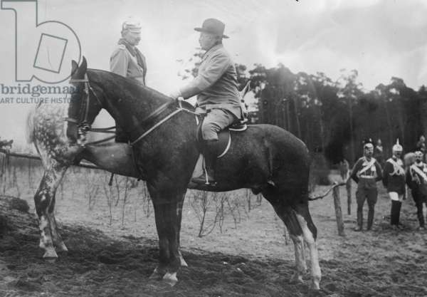 Theodore Roosevelt Greets the German Kaiser, both on horseback in Germany (photo)