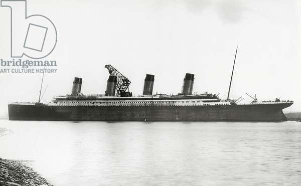 RMS Titanic nearing completion, 08 January 1912 (b/w photo)