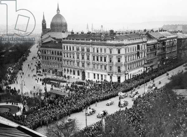 Hitler Enters Vienna (b/w photo)
