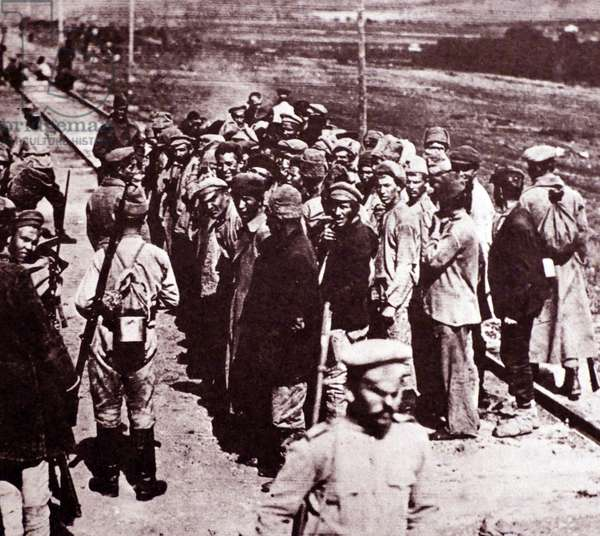 Bolshevik communist prisoners of admiral Kolchak the White Russian leader during the Civil War following Russian Revolution 1917