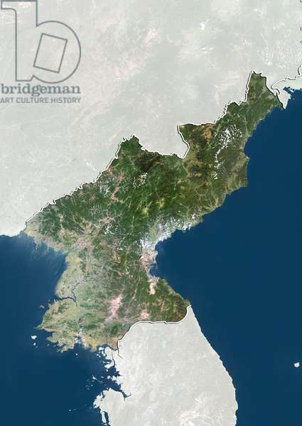 North Korea, True Colour Satellite Image With Border and Mask