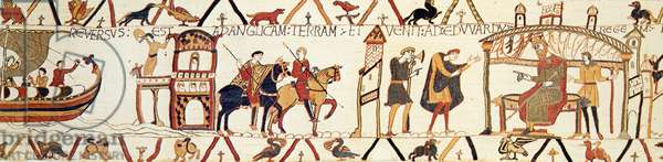 A scene from the Bayeux Tapestry depicting King Edward talking with Harold