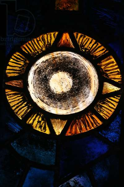 Saint-Maurice d'Agaune abbey, Stained glass window, Astrological sign, The sun, Saint-Maurice, Switzerland, 2015 (photo)