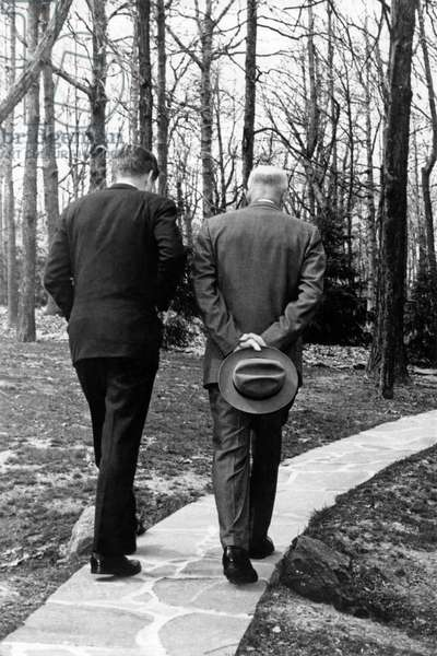 JFK & Eisenhower at Camp David, Maryland, USA, 1961 (b/w photo)