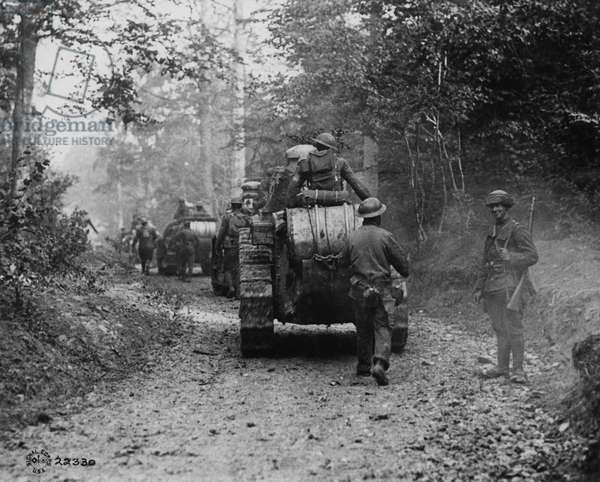 American tanks advance in Argonne forest, 1918 (b/w photo)