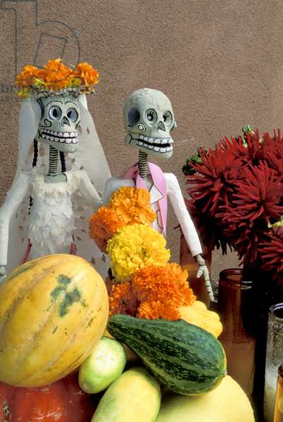 New Mexico, Chimayo - Day Of The Dead Skeletons, Gourdes And Flowers
