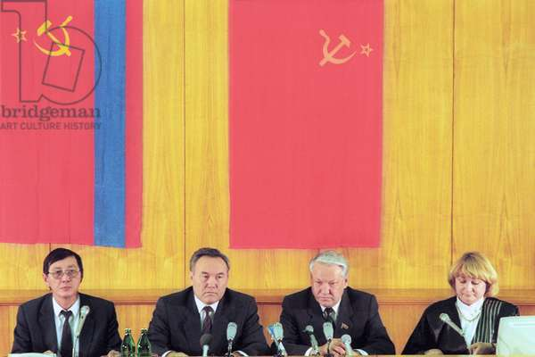 Rsfsr, Moscow, Chairman of the Supreme Soviet of the Rsfsr Boris Yeltsin (R, Second) and President of Kazakhstan Nursultan Nazarbaev (L, Second) are Pictured at the Press-Conference, November 22, 1990.