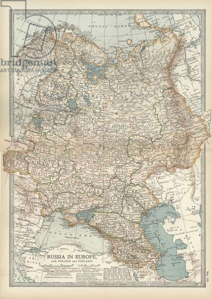 Map of Russia showing historical boundaries of Russia in Europe with Poland and Finland, circa 1902