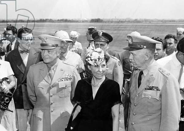 US General Dwight Eisenhower, Mamie Eisenhower and General George Marshall