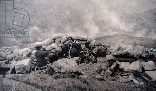 French artillery position bombards German trenches on Braunkopf Hill, 1915
