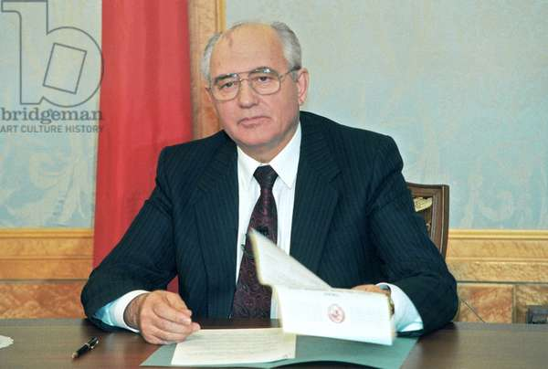 Russia, Moscow, President of the USSR Mikhail Gorbachev Airs About his Resignation, December 27, 1991.