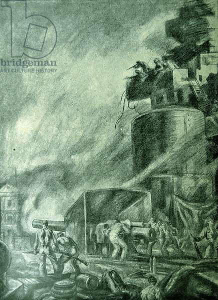 Spanish Civil War: republican naval ship fires cannon against nationalst forces on shore, drawing by C. Saenz de Tejada