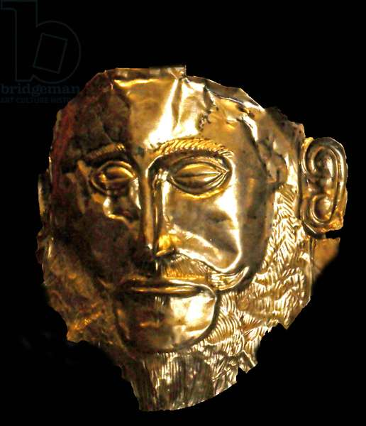 The Mask of Agamemnon is an artefact discovered at Mycenae in 1876 by Heinrich Schliemann. The mask is a gold funeral mask. Schliemann believed that he had discovered the body of the legendary Greek leader Agamemnon. today archaeological research suggests the mask is from 1550-1500 B.C.E