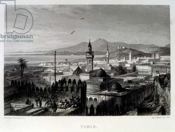 Mediterranean coast off Tunis, Tunisia 1862. French illustration