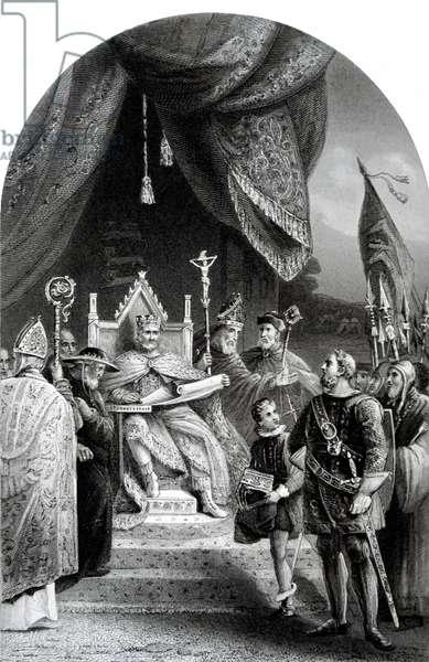 John, King of England sealing the Magna Carta.