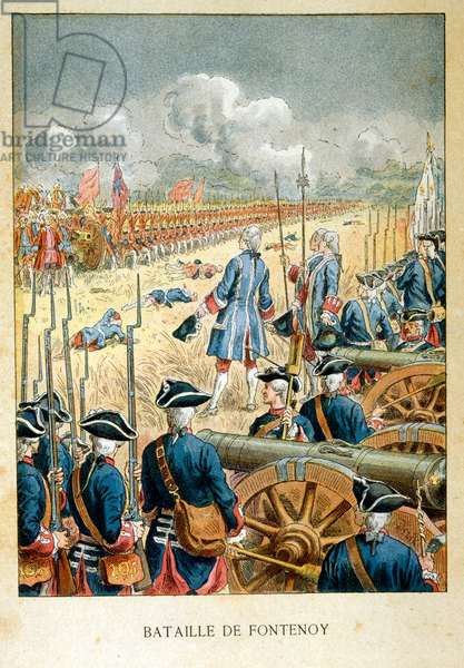 The Battle of Fontenoy, 11 May 1745, was a major engagement of the War of the Austrian Succession, fought between the forces of the Pragmatic Allies-comprising mainly Dutch, British, and Hanoverian troops under the command of the Duke of Cumberland-and a French army under Maurice de Saxe, commander of King Louis XV's forces in the Low Countries. The battle was one of the most important in the war and considered the masterpiece of Saxe, serving France. Louis XV, and his son, the Dauphin, were present at the battle.