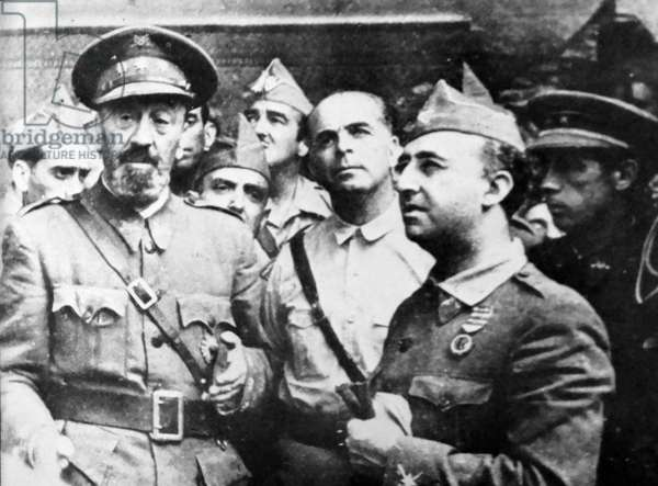 Nationalist generals (left to right), Moscardo, Varella and Franco