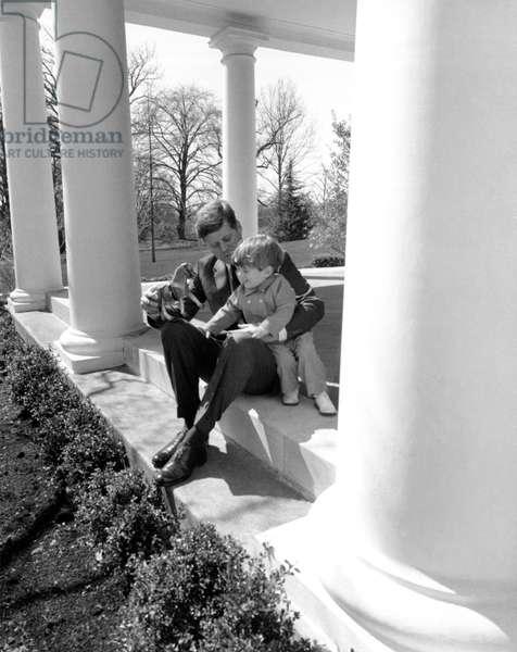 President Kennedy & John-John (b/w photo)