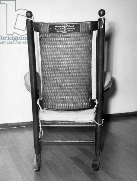The famous rocking chair of President John Fitzgerald Kennedy. Esposition. Milan. 1965.