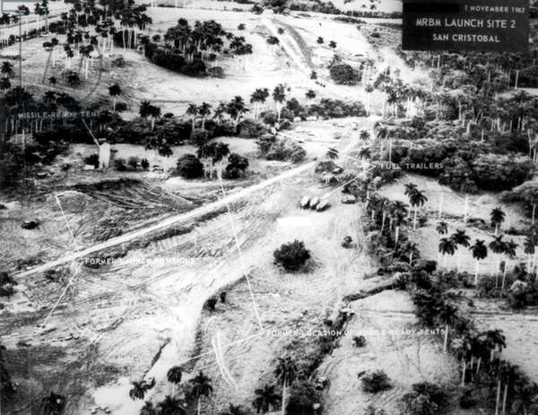 Cold War: Cuban Missile Crisis. Aerial view of Russian medium- range ballistic missile launch site 2, San Cristobal, Cuba, l November 1962. Last missiles removed in April 1963.