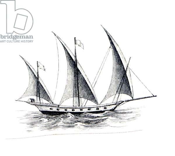 The small three-masted Mediterranean ship 'Xebec', 1850