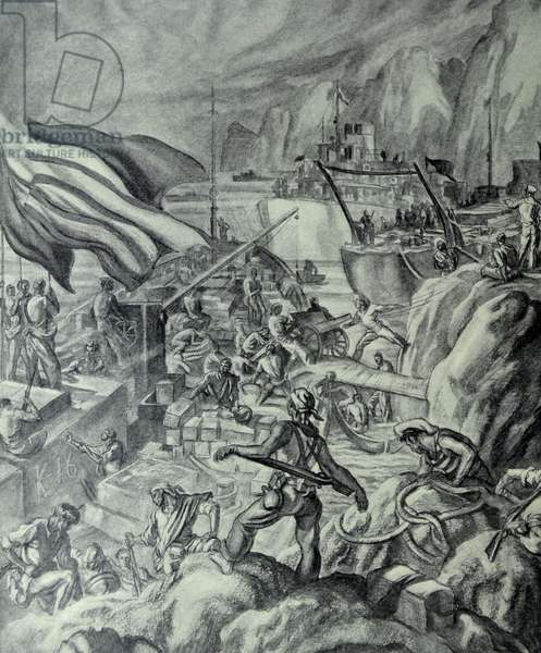 Spanish Civil War: Catalan republican forces take supplies from ships in a rocky inlet on the coast. Supplies including weapons are offloaded. drawing by C. Saenz de Tejada