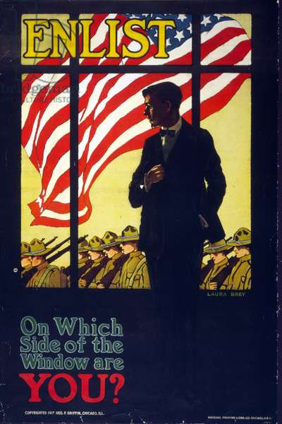 American World war One propaganda recruitment poster.