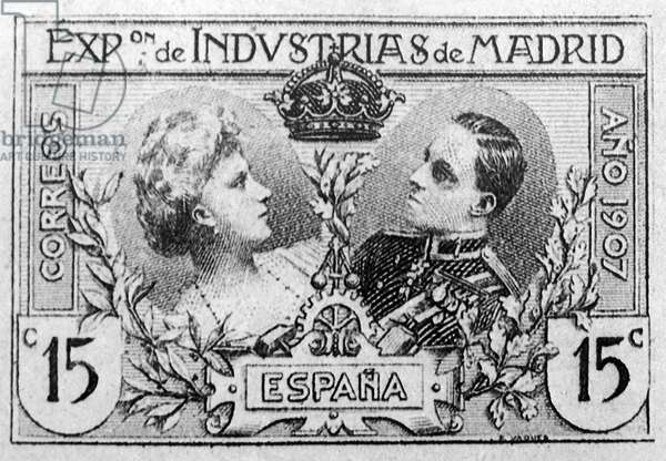 Stamp of Queen Victoria Eugenie and Alfonso XIII