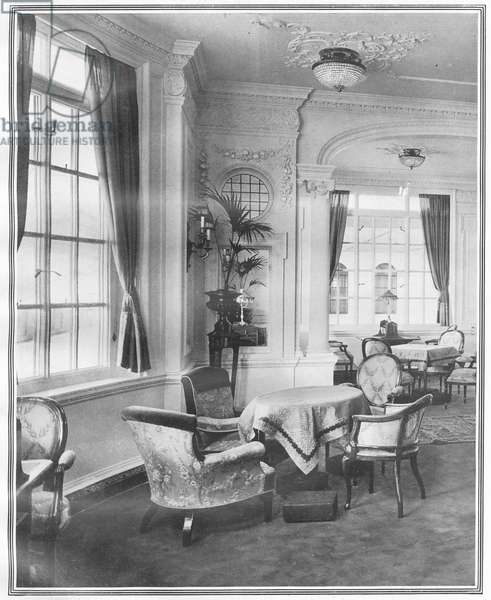 The Reading and Writing Room on board Titanic, from 'The Sphere', 27 April 1912 (litho) (detail of 450801)
