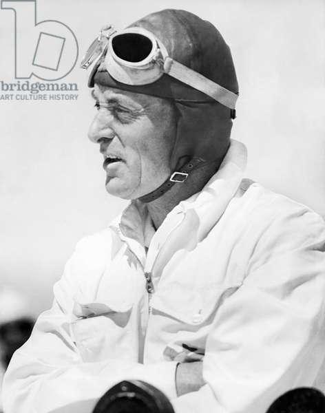 Sir Malcolm Campbell Portrait, Bonneville Salt Flats, Utah, September 3, 1935 (b/w photo)