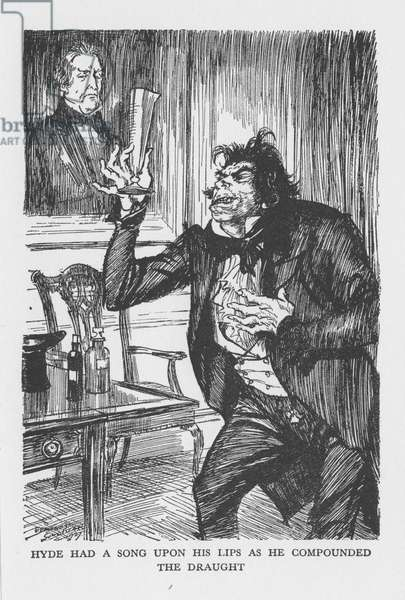 Robert Louis Stevenson The Strange Case of Dr Jekyll and Mr Hyde first published 1886. Mr Hyde on his visit to Dr Lanyon eagerly mixes the chemicals Dr Jekyll has sent there, drinks down the mixture. Illustration by Edmund J. Sullivan from an edition published 1928.