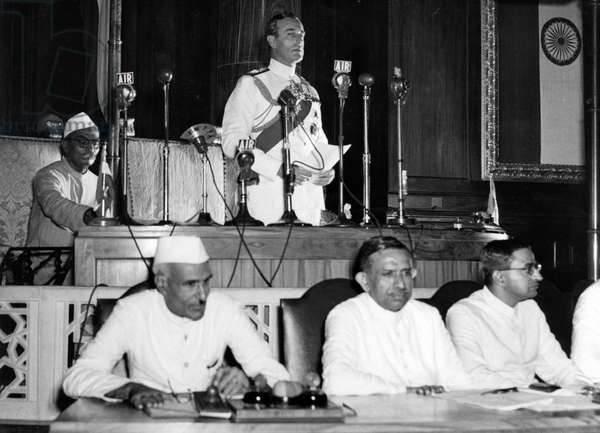 Lord Mountbatten at the declaration of Indian Independence, 1947