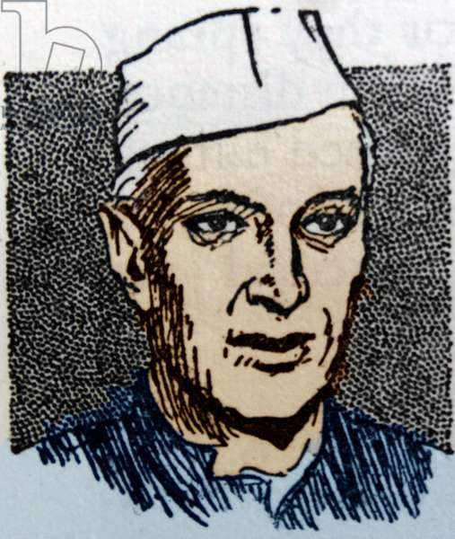 Colour line drawing of Jawaharlal Nehru