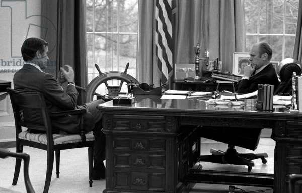President Gerald Ford with CIA Director-designate George Bush
