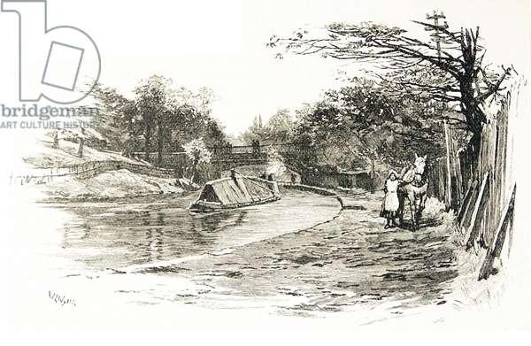 Regent's Canal, London; Charles Street Bridge, Regent's Park. Engraving, London, 1885.