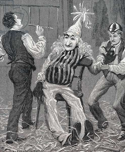Boys making an effigy of Guy Fawkes, 1902 (engraving)
