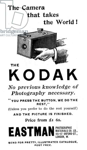Advertisement for Kodak cameras from The Illustrated London News, 16 September 1893 including Kodak's famous slogan You press the button, we do the rest. From 1888 the Kodak box camera took Eastman's coated paper roll film. Engraving