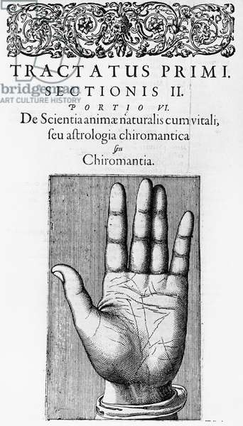 Title page of chapter on Chiromancy from Robert Fludd Utriusque cosmi ... historia Oppenheim 1617-1619 showing the lines of the hand. Copperplate engraving