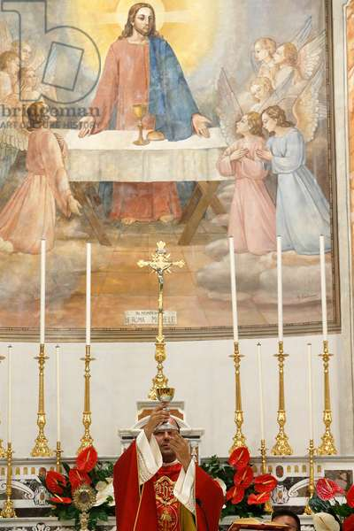 Mass in St Andrew's catholic church, Tricase, Italy, 2015 (photo)