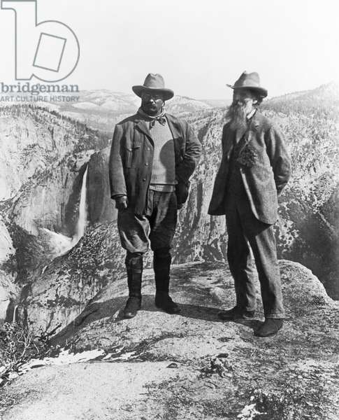 Teddy Roosevelt and John Muir (b/w photo)