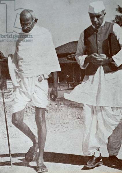 Mahatma Gandhi and Jawaharlal Nehru, at Sevagram.