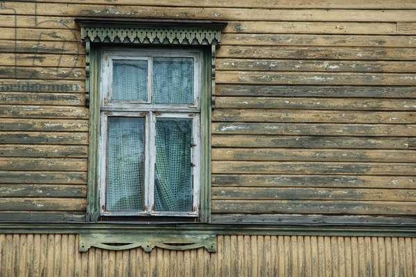 Window in A Wooden House at Tallinn, Estonia (photo)