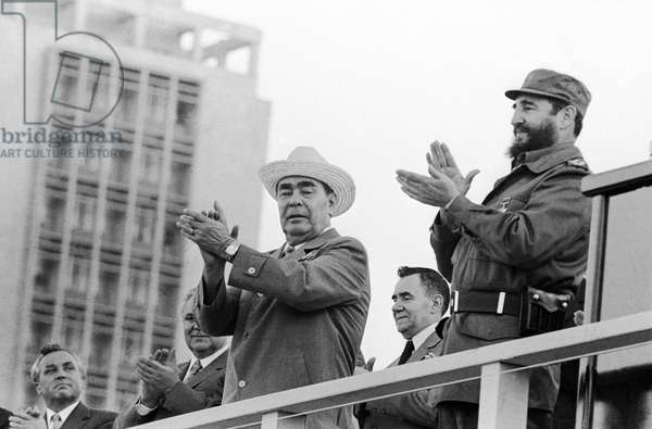 Fidel Castro And Leonid Brezhnev In Havana